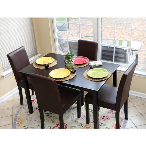 Life home 5 PC Espresso Leather Brown 4 Person Table and Chairs Brown Dining Dinette - Espresso Brown Parson Chair