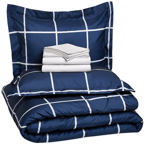 AmazonBasics 7-Piece Bed-In-A-Bag- Full/Queen, Navy Simple Plaid