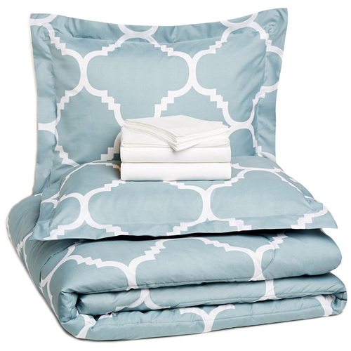 AmazonBasics 7-Piece Bed-In-A-Bag - Full/Queen, Dusty Blue Trellis
