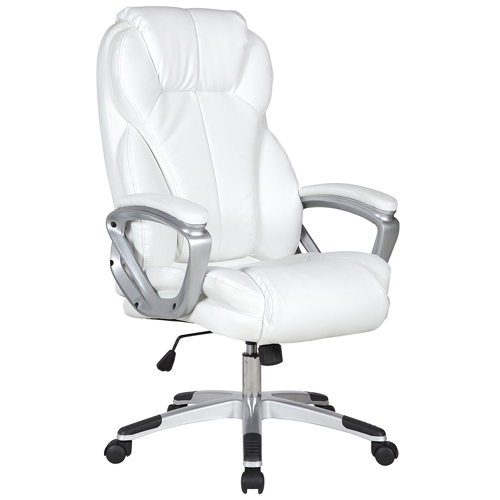 2xhome - Set of Two (2) - White - Deluxe Professional PU Leather Tall and Big Ergonomic Office High Back Chair