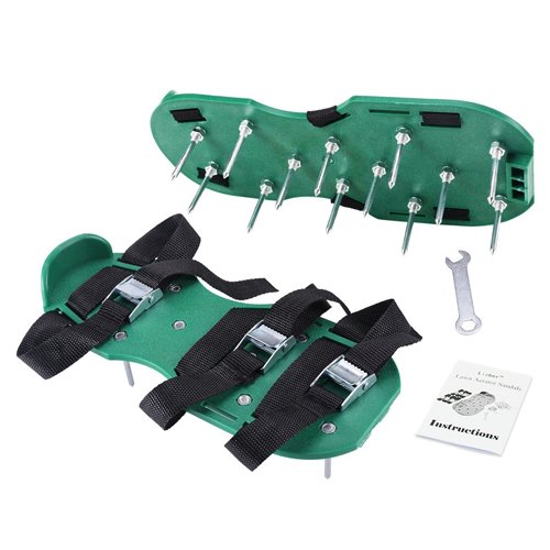 Lawn Aerator Sandals/ Aerating Spikes Heavy Duty Spiked Shoes 3 Straps