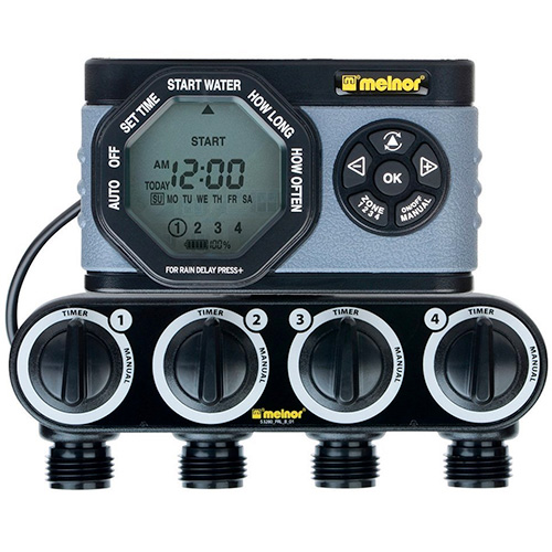 Melnor 4-Outlet Digital Water Timer, Simple and Flexible Programming Garden Hose