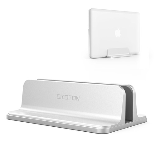 Vertical Laptop Stand [Adjustable Size], OMOTON Desktop Aluminum MacBook Stand