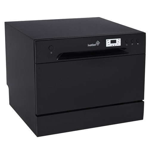 Ivation Countertop Dishwasher – Compact, Portable Stainless Steel Dishwasher for Apartment, Condo, RV, Office & Other Small Kitchens – 6 Place Setting Capacity – Black