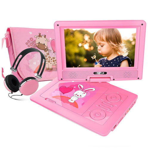 "FUNAVO 9.5"" Portable DVD Player with Headphone, Carrying Case, Swivel Screen"