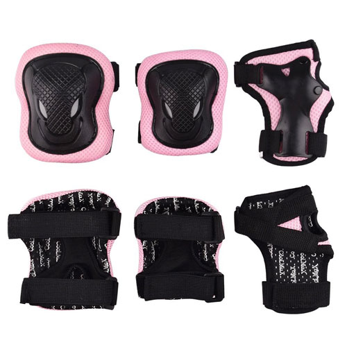Kuxuan Girl's Cira Pink Protective Gear Knee Pads Elbow Pads and Wrist Guards