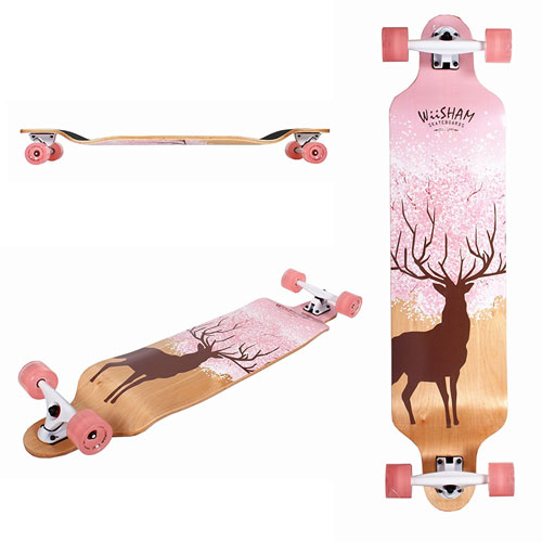 WiiSHAM Professional Speed Downhill Drop through Complete Longboard Skateboard with Free T-tools