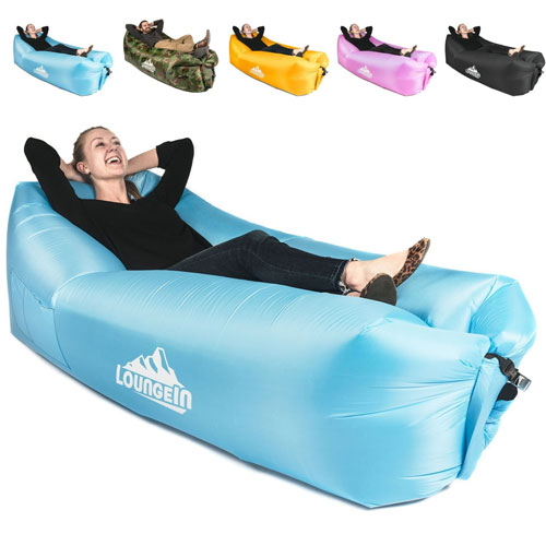 Inflatable Lounger air couch chair sofa pouch   Lazy hammock blow up bag   Lounge outdoor at the beach or camping