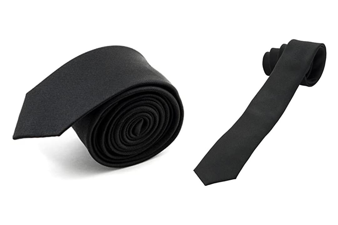 100% Silk Handmade Black Skinny Tie Men's Necktie By John William