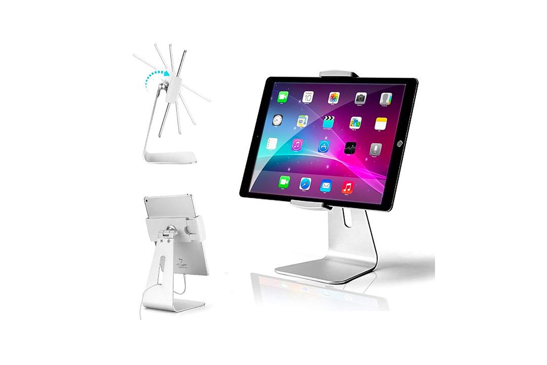 AboveTEK Elegant Tablet Stand, Aluminum iPad Stand Holder, Desktop Kiosk POS Stand