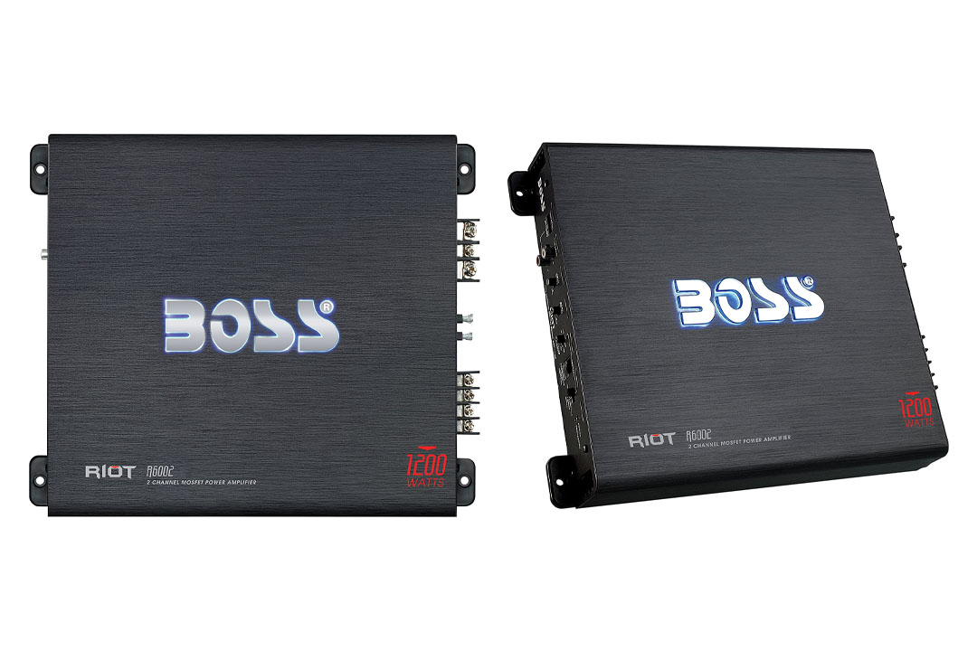 BOSS Audio R6002 - Riot 1200 Watt, 2 Channel, 2/4 Ohm Stable Class A/B, Full Range, Bridgeable, MOSFET Car Amplifier with Remote Subwoofer Control