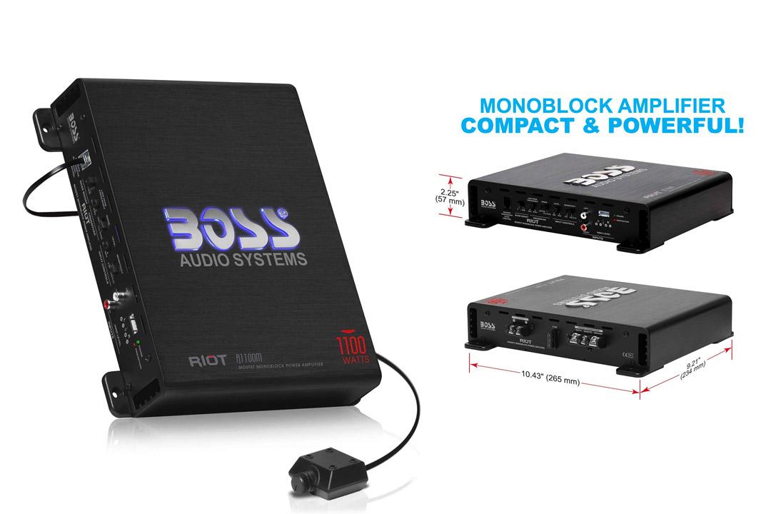Car Amplifiers | BOSS Audio R1100M Riot 1100 Watt, 2/4 Ohm Stable Remote Subwoofer Control