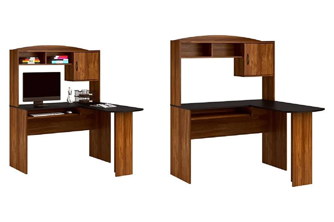 Computer Desk & Chair Corner L-shaped Ergonomic Study Table Hutch Home OfficeErgonomic and minimalist in design this is the Crème Del La Crème of corner desks