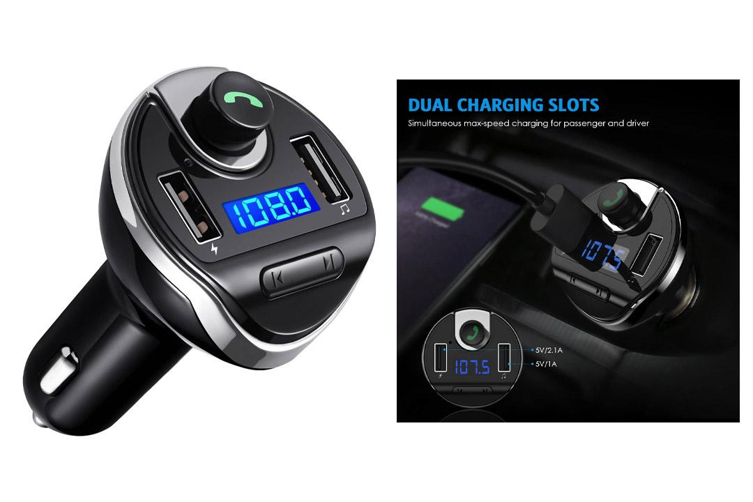 Criacr Bluetooth FM Transmitter, Wireless In-Car FM Transmitter Radio Adapter Car Kit