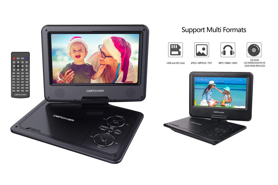 DBPOWER 9.5-Inch Portable DVD Player with Rechargeable Battery