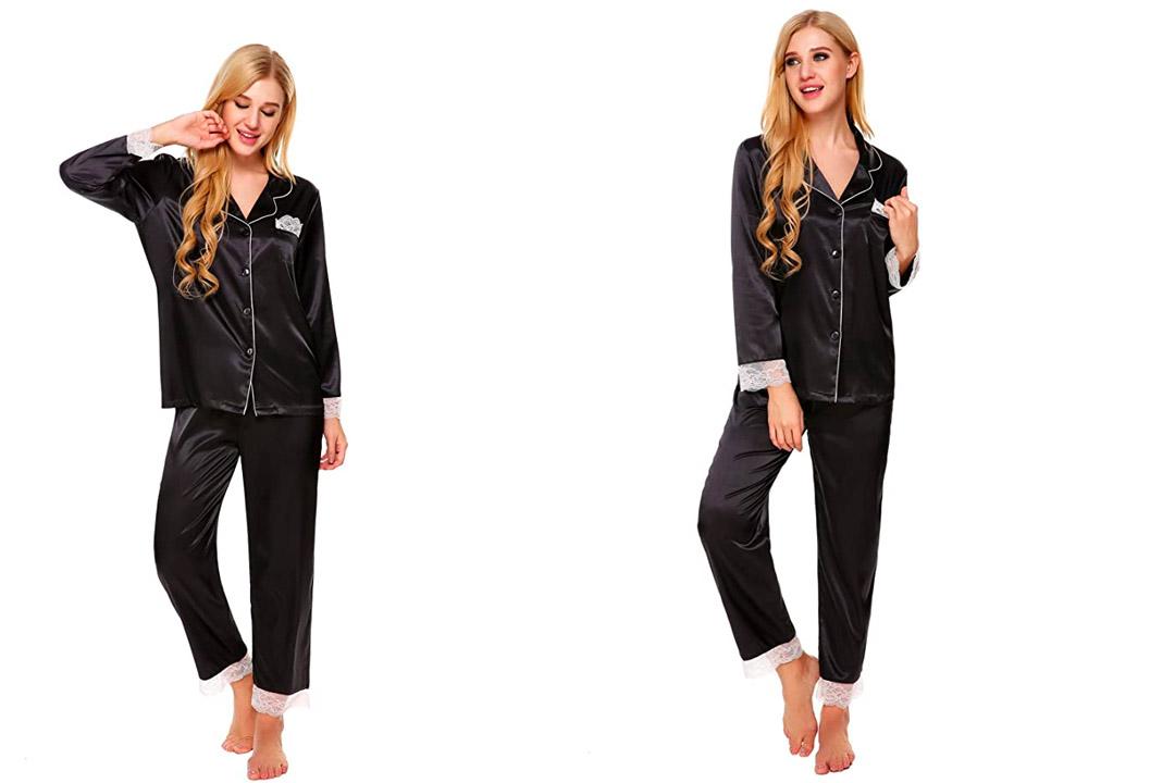 Ekouaer Women's Pajama Set Sexy Lace Trim Satin Sleep Top and Bottoms Sleepwear S-XL