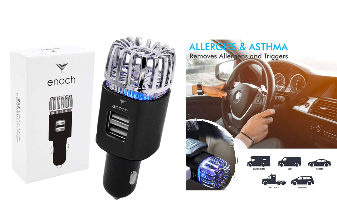 Enoch Car Air Purifier with USB Car Charger 2-Port. Car Air Freshener Eliminate Odor