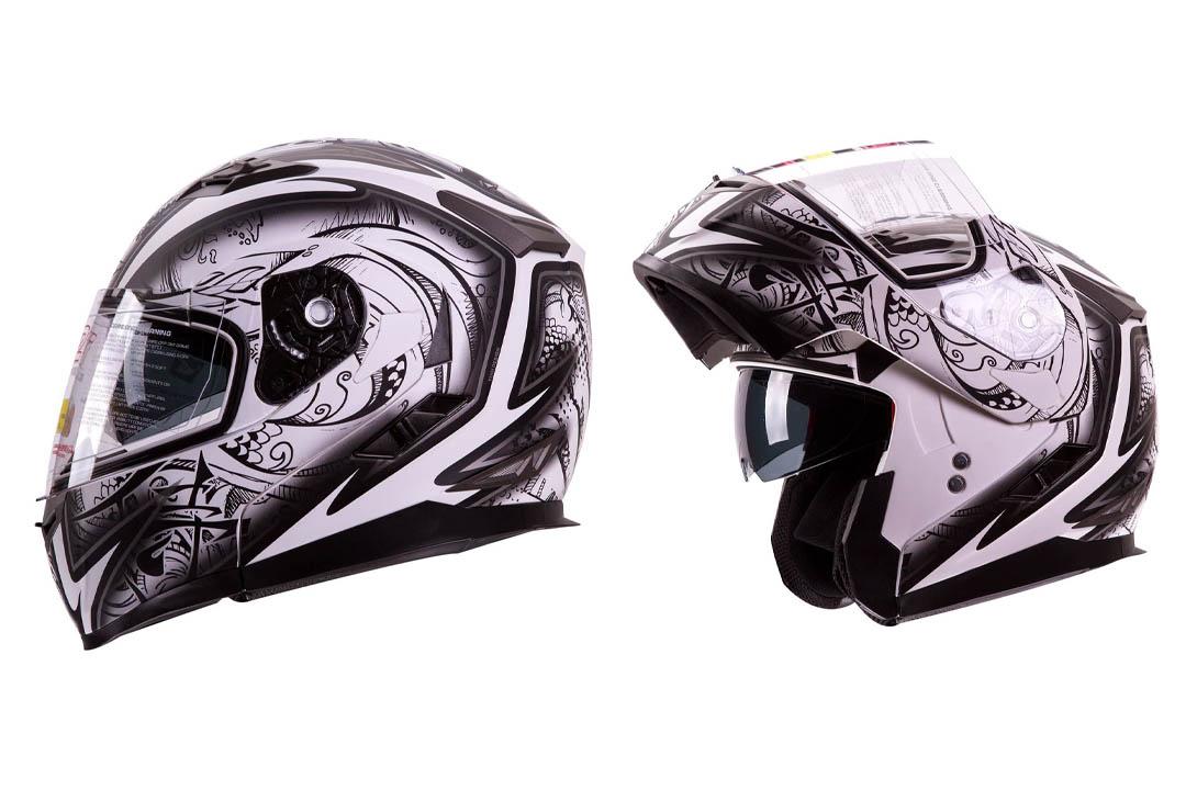 """IV2 Helmets """"DEMON SAMURAI"""" Dual Visor Modular Flip up Motorcycle Snowmobile Helmet DOT"""
