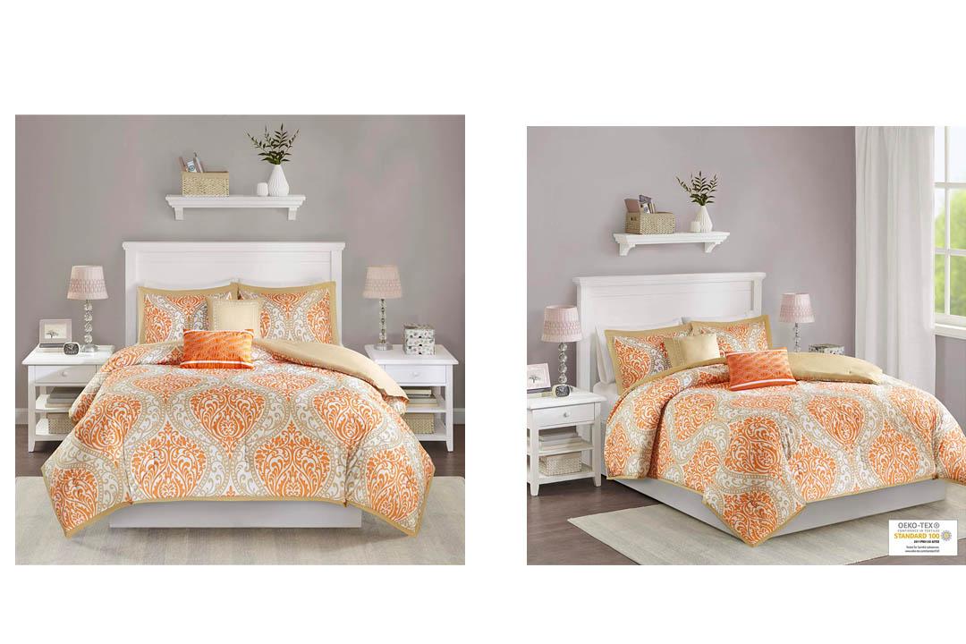 Intelligent Design Senna 5 Piece Comforter Set, Full/Queen, Orange