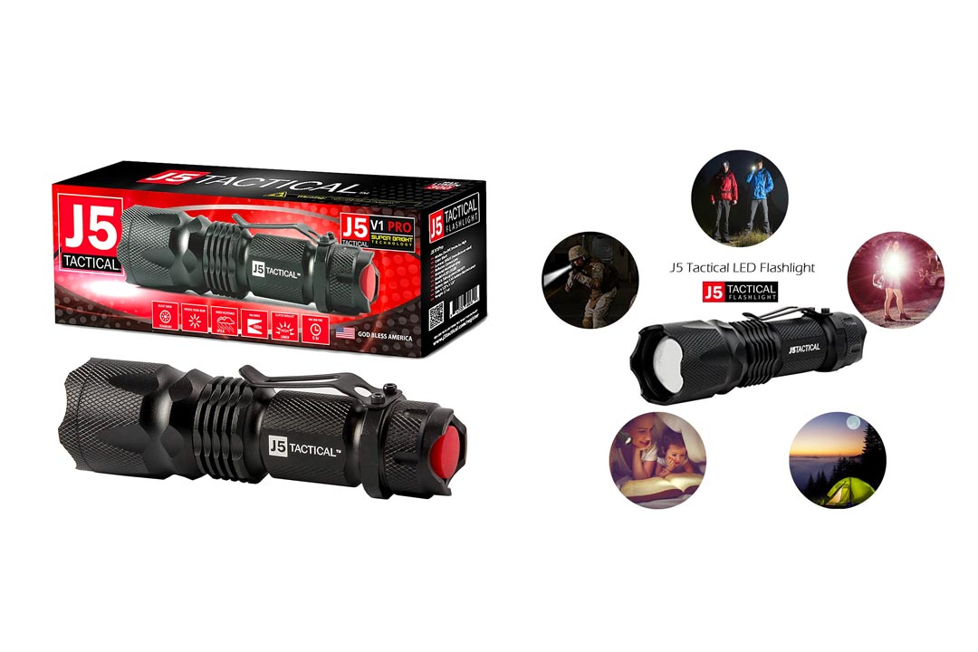 J5 Tactical V1-Pro Flashlight – The Original Ultra Bright High Lumen Output LED Mini Tactical Flashlight