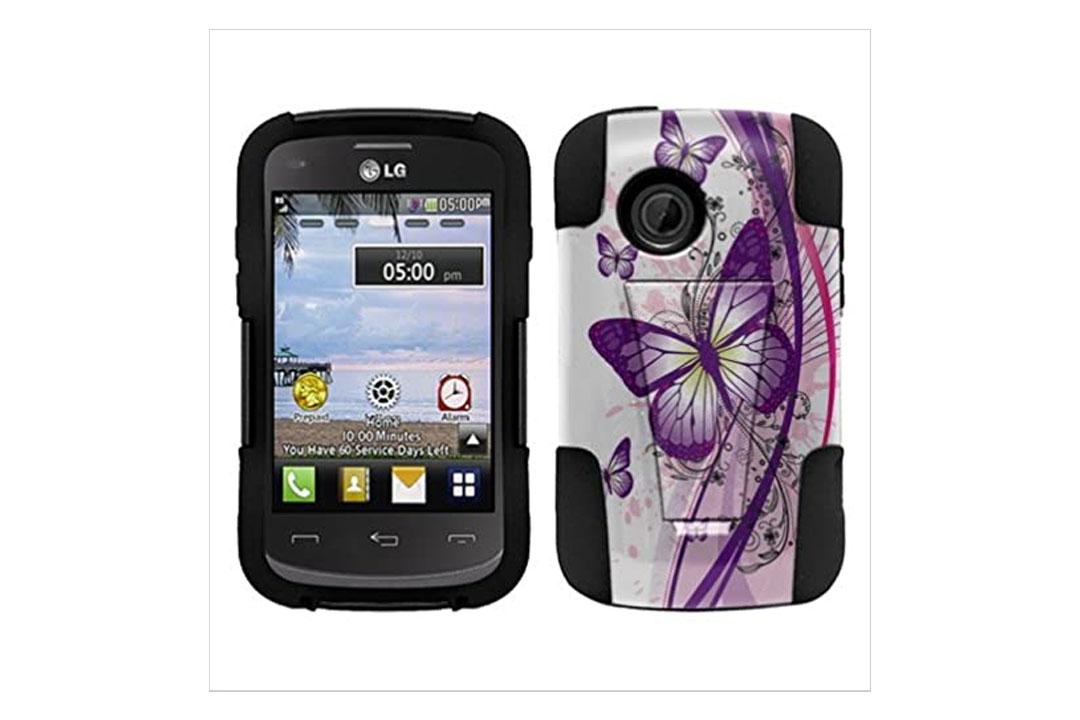 LG 306G 305C Aspire LN280 Case, Fincibo (TM) Hybrid Dual Layer Protector Cover Gel Silicone