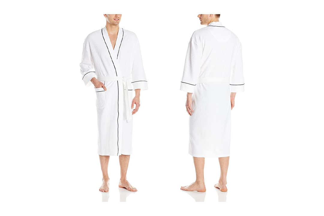Majestic International Men's Waffle Kimono Spa Robe