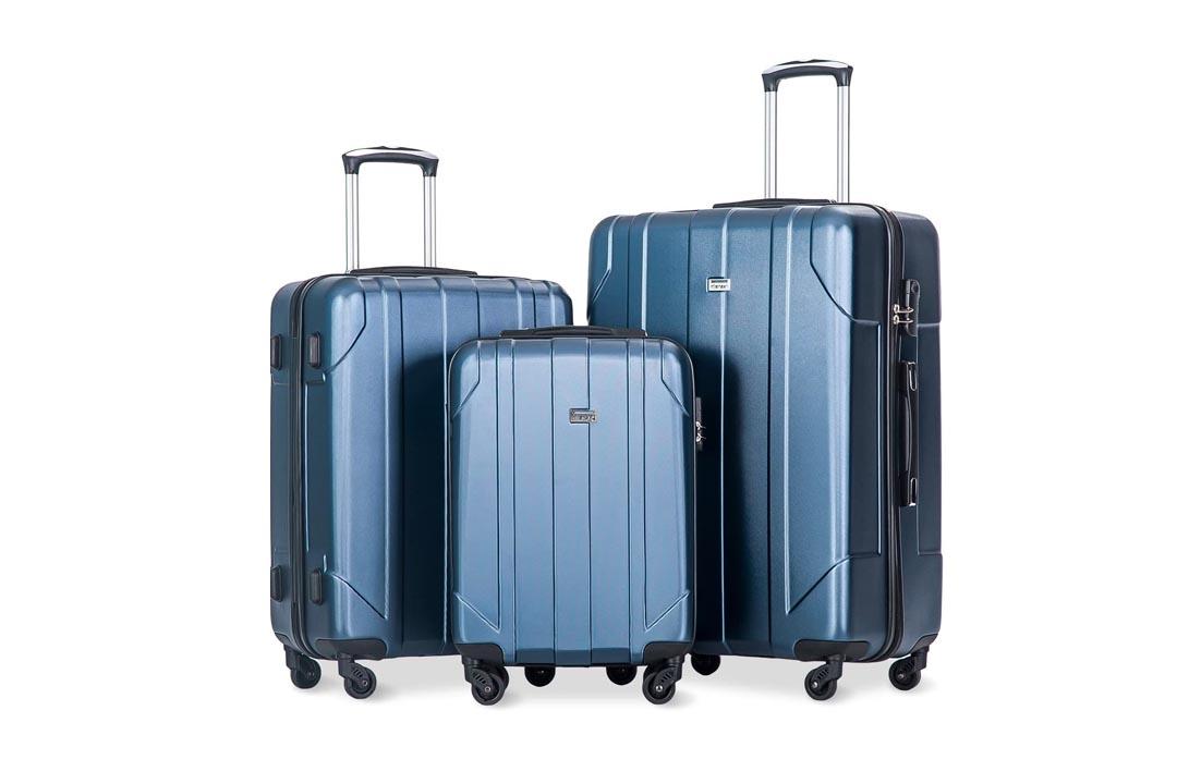 Merax® Travel house 2 Piece ABS Luggage Set Vintage Suitcase