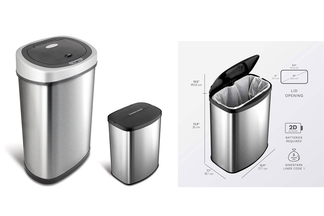 Nine Stars Touchless Automatic Motion Sensor Trash Can, Set of 2