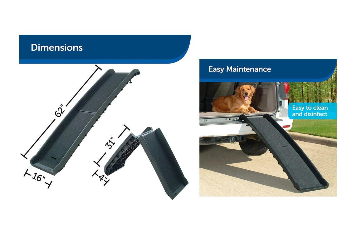PetSafe Solvit UltraLite Bi-Fold Pet Ramp, 62 in., Portable Lightweight Dog and Cat Ramp