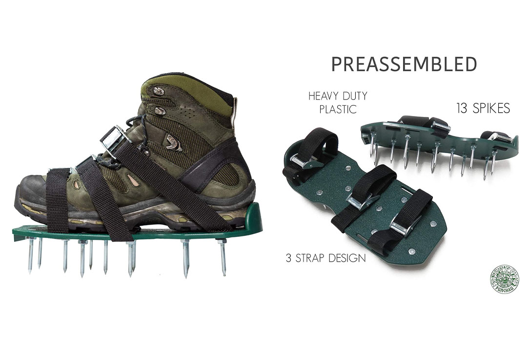 Punchau Lawn Aerator Shoes w/Metal Buckles And 3 Straps