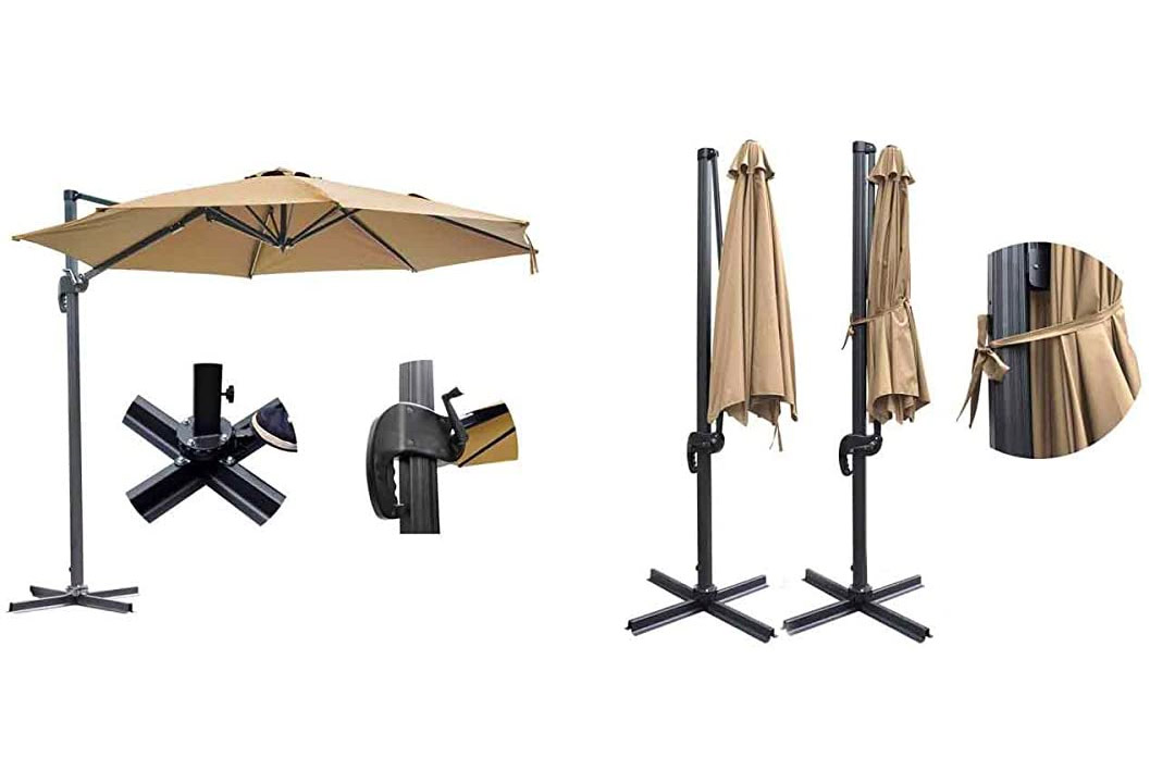 10ft Outdoor Patio Cantilever Offset Umbrella With Stand Tan