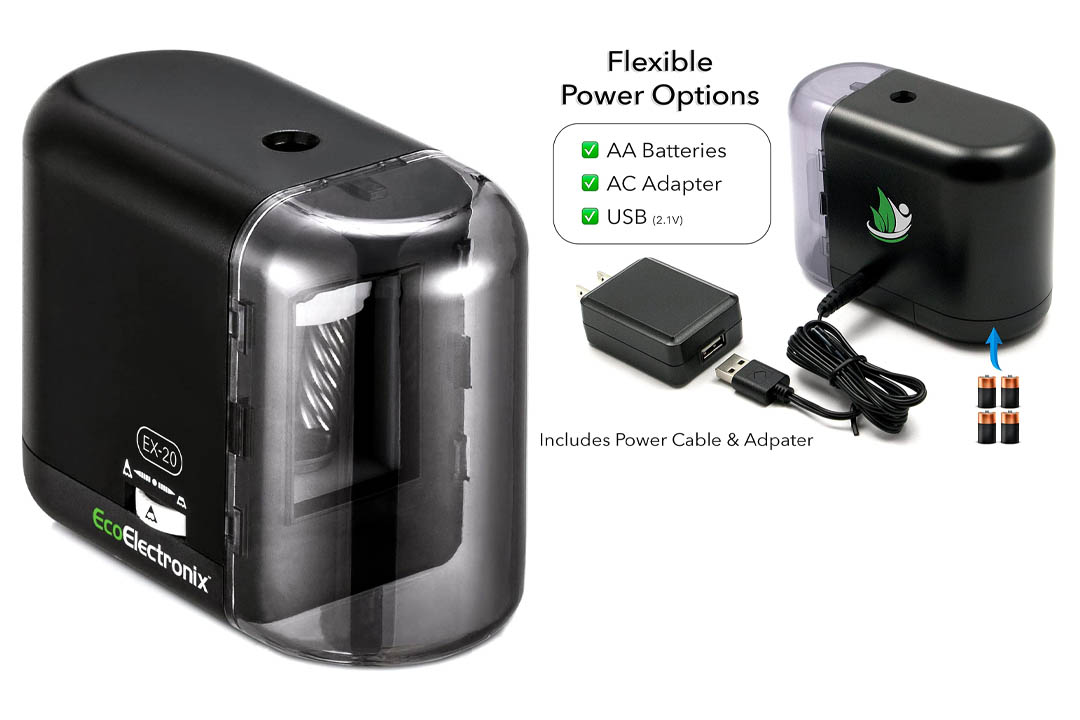 EX-20 Electric Pencil Sharpener - Battery and AC Powered (Adapter Included)