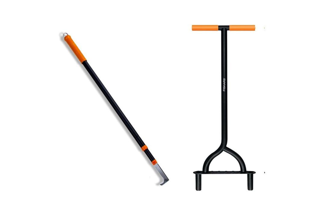 Fiskars 9862 Coring Lawn Aerator and 9863 Deck Flosser (Bundle, 2 Items)