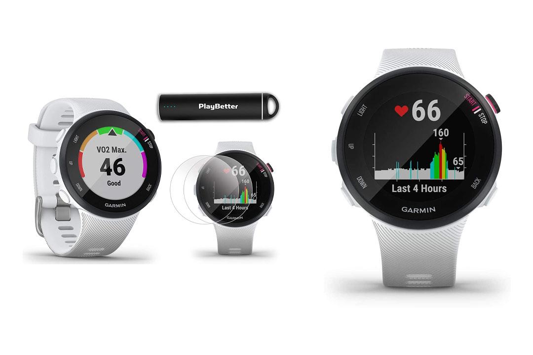 Garmin Forerunner 45S (White, Small) Running GPS Watch Power Bundle