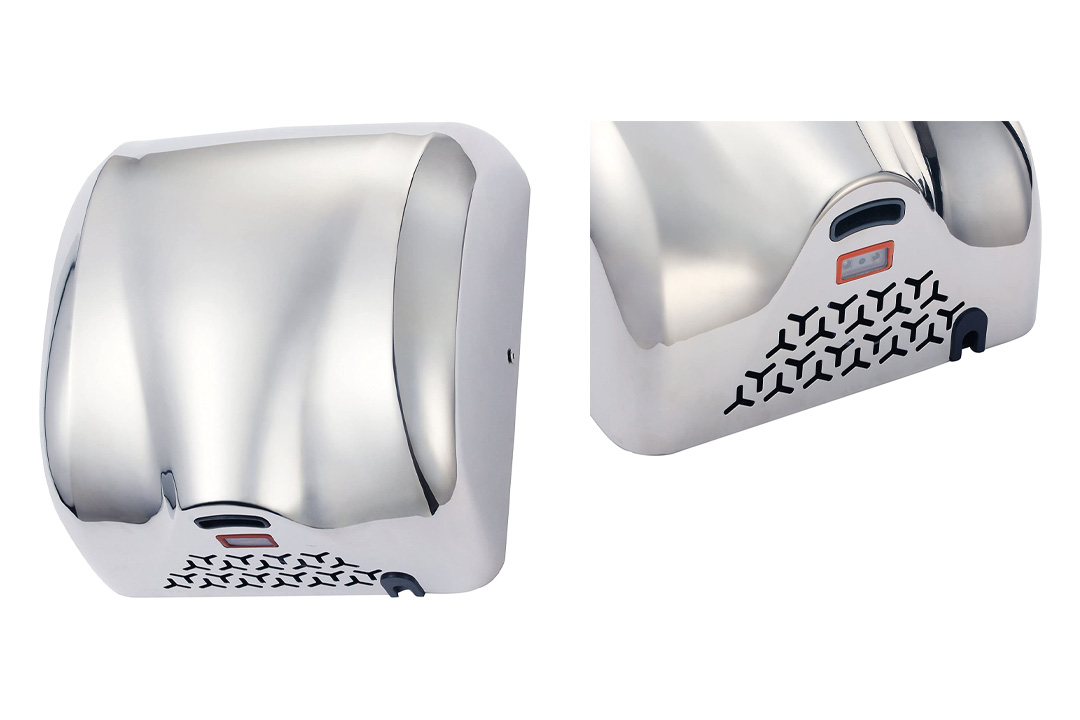 High Speed 1800W Fast 90m/s Dry Hot Stainless Steel Chrome Automatic Hand Dryer For Commercial Bathroom