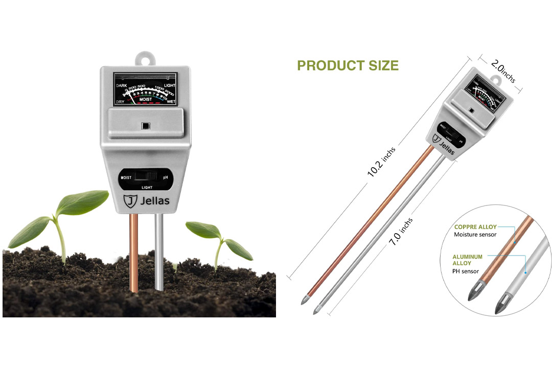 Jellas Soil pH Meter 3-In-1 Soil Moisture Meter Moisture Sensor Sunlight pH Soil Test Kits for Home and Garden