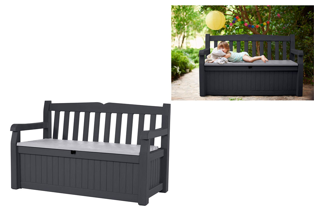 KETER Eden 70 Gallon Storage Bench Deck Box for Patio Furniture