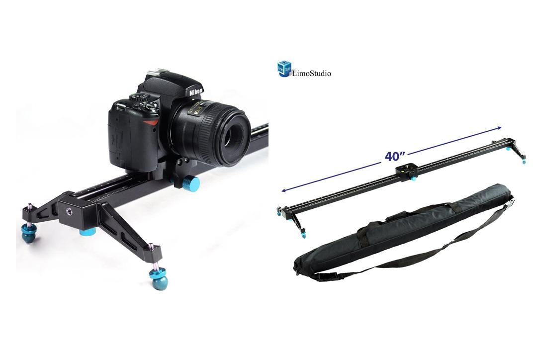 LimoStudio 40Inch Video Stabilization System DSLR Camera Compact Dolly Track Slider