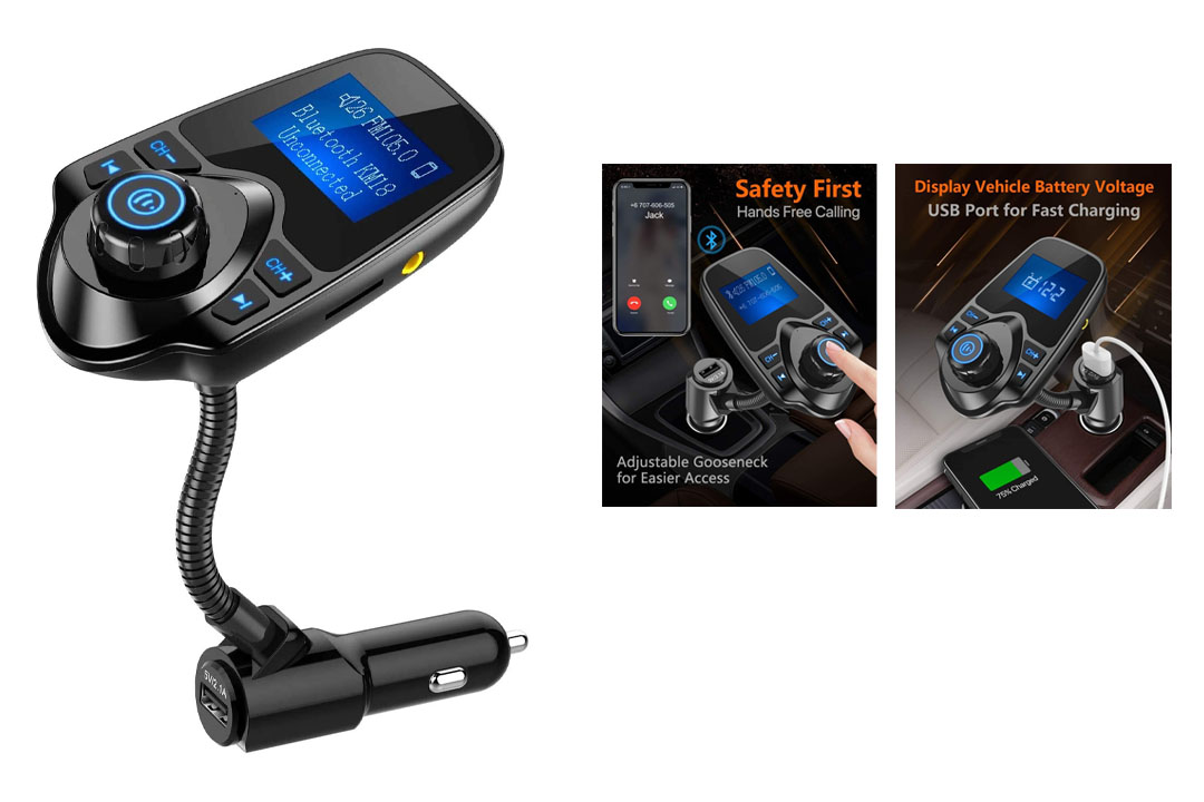 Nulaxy Wireless In-Car Bluetooth FM Transmitter Radio Adapter Car Kit W 1.44 Inch