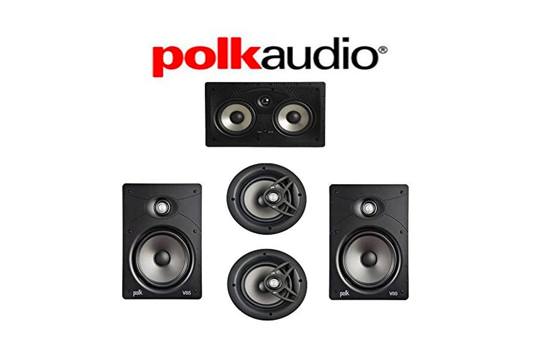 10. Polk Audio V85 Vanishing Series 5.0 In-Wall / In-Ceiling Home Theater System (V85 + V80 + 255C-RT)