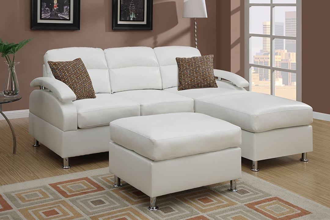 Poundex, Bobkona 3 piece Bonded Leather Sectional Sofa