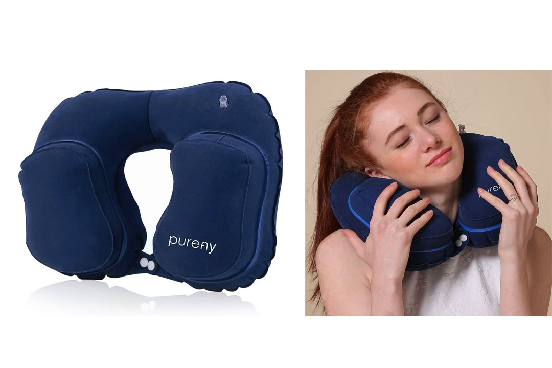 Purefly Inflatable Travel Neck Pillow