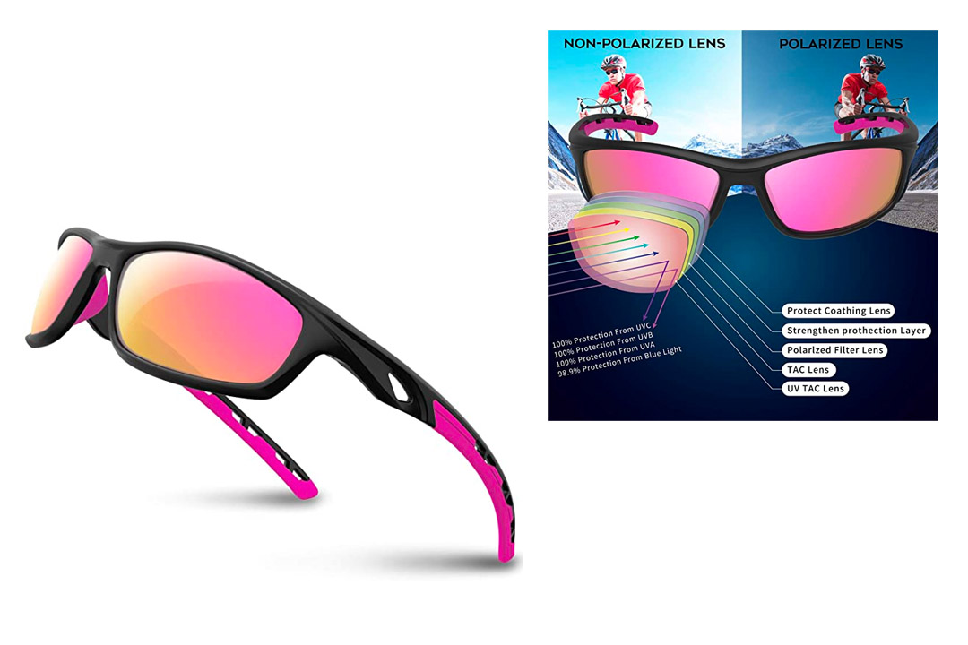 10. RIVBOS Polarized Sports Sunglasses for Women Men Driving shades Cycling Running Rb833