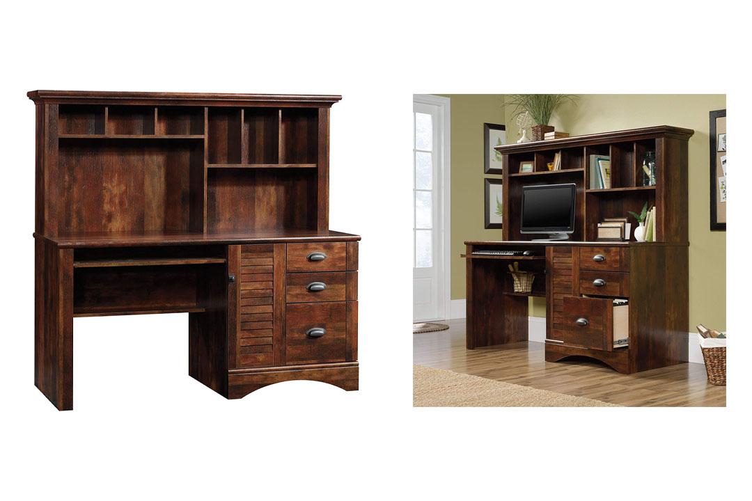 Sauder 420475 Harbor View Computer Desk W/Hutch, Curado Cherry Finish