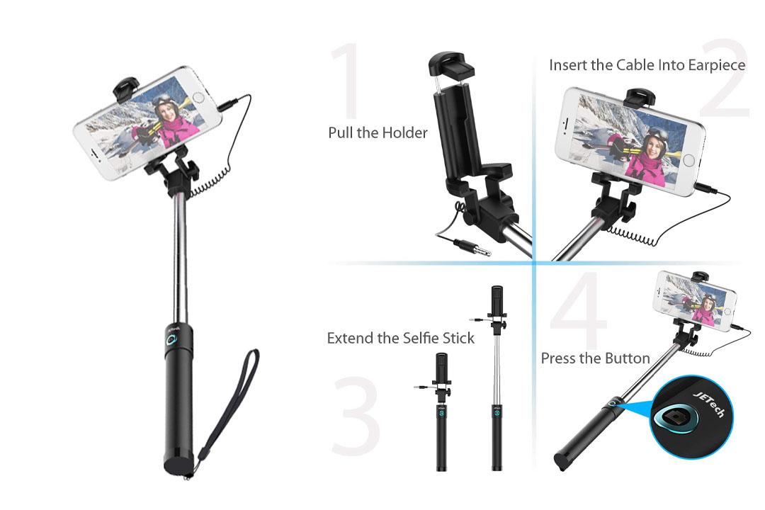 Selfie Stick, JETech One-piece U-Shape