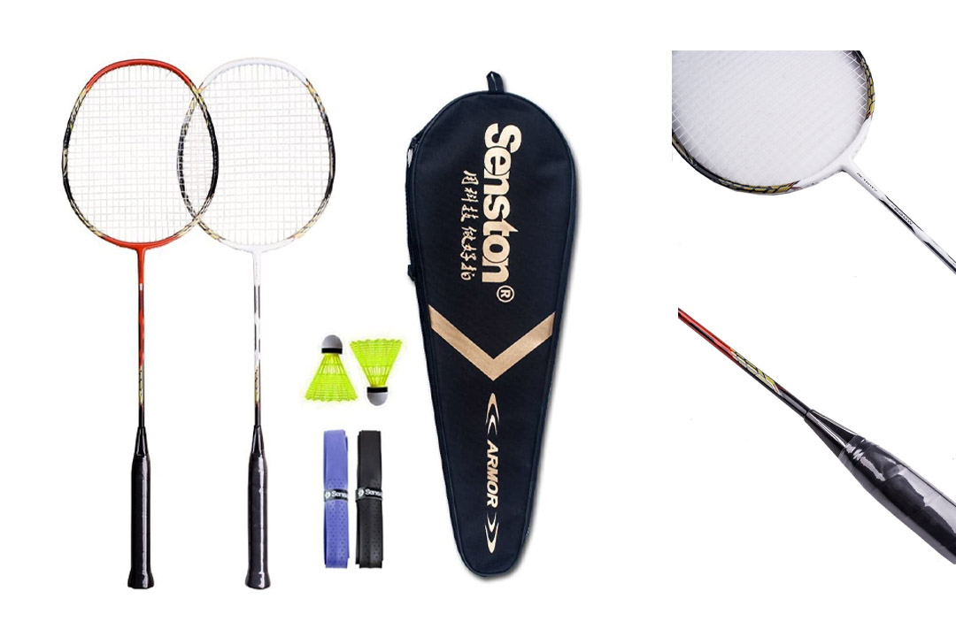 Senston 2 Player Badminton Racquets Set Double Rackets Carbon Shaft Badminton Racket Set- 1 Carrying Bag Included