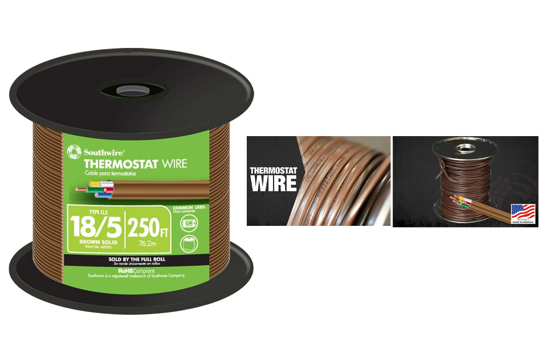 Southwire 64169644 18/5 250-Feet 5 Conductor Thermostat Wire, 18-Gauge Solid Copper Class 2 Power-Limited Circuit Cable, Brown