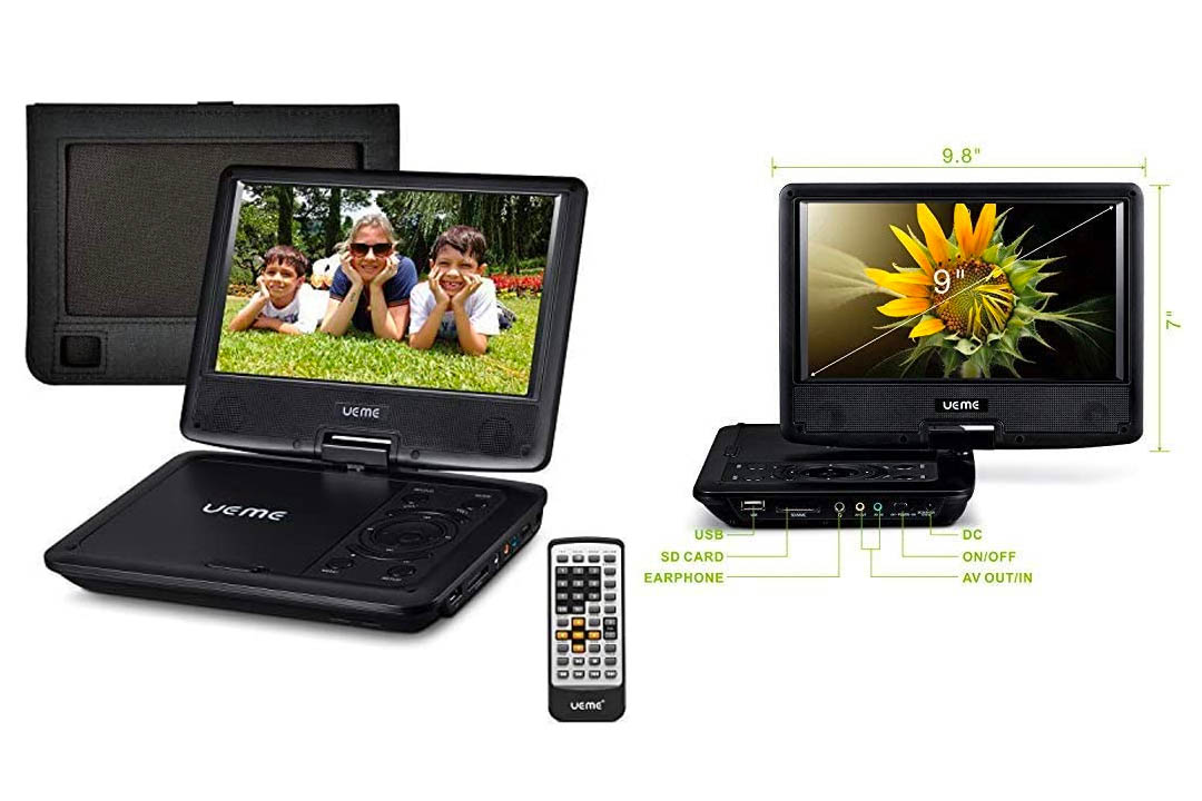 """UEME 9"""" Portable DVD Player for Kids with Swivel Screen 