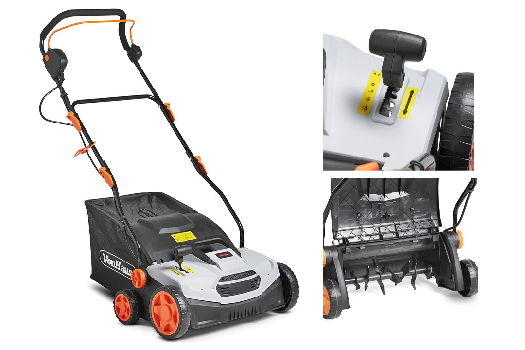 """VonHaus 12.5 Amp Corded 15"""" Electric 2 in 1 Lawn Dethatcher Scarifier and Aerator with 5 Working Depths and 45L Collection Bag"""