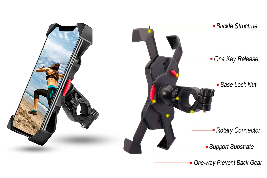 visnfa Bike Phone Mount Anti Shake and Stable Cradle Clamp with 360° Rotation Bicycle Phone mount